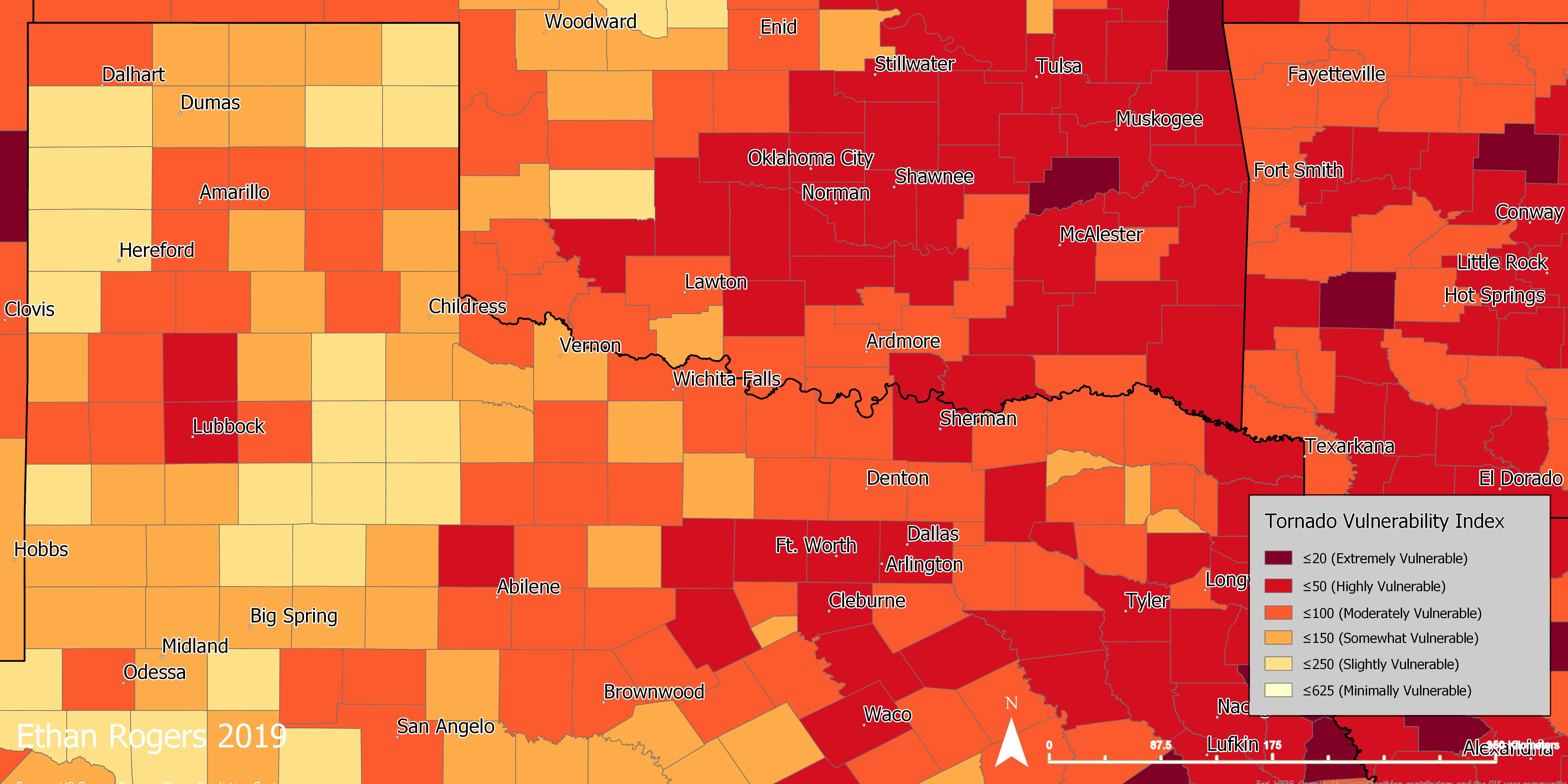 Tornado Alley Texas Map Which counties in North Texas are most vulnerable to tornadoes