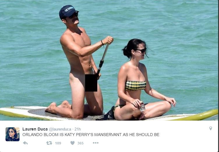 Orlando Bloom naked on a beach with Katy Perry