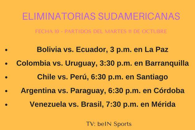 Calendario Eliminatorias Sudamericanas 2020.Calendario De Juegos De La Eliminatoria Mundialista De