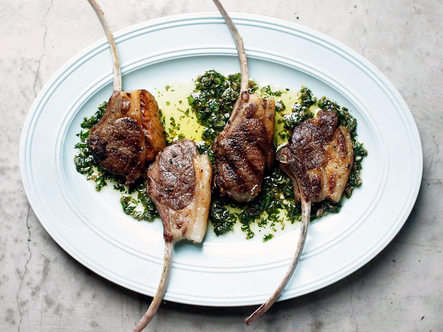 Grilled Lamb Chops With Mint Salsa Verde