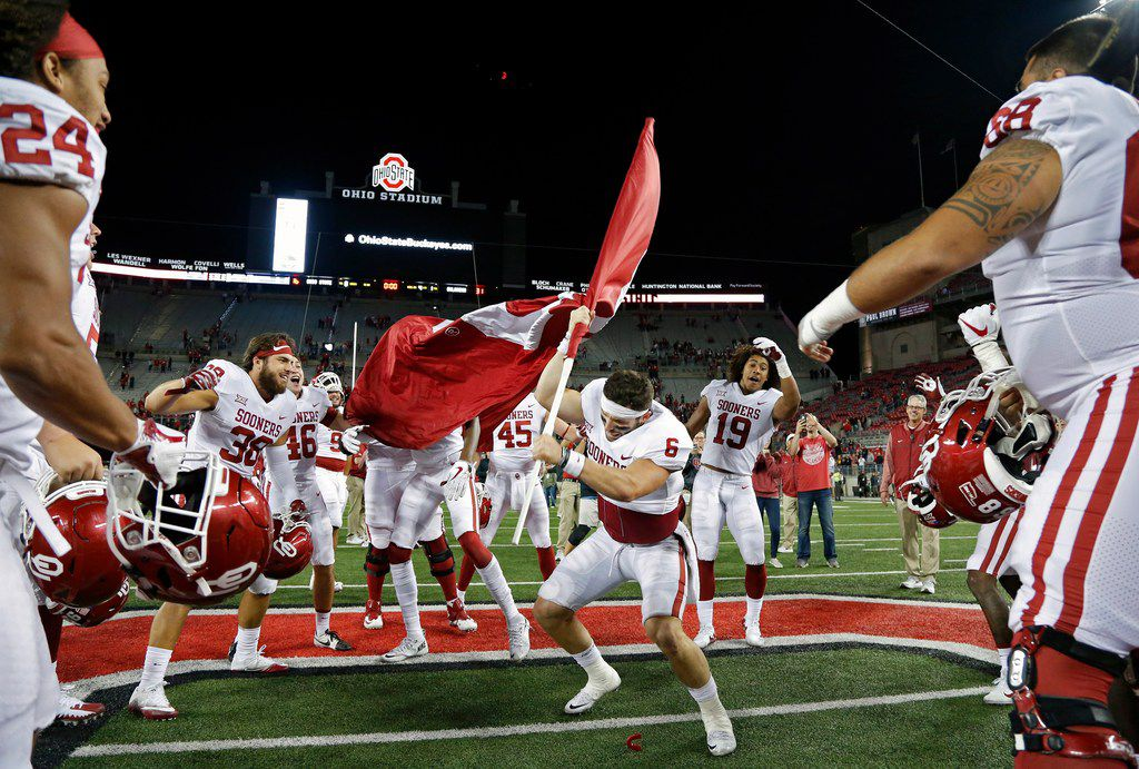 new styles 6f1a6 0f6a0 Baker Mayfield celebrates win over Ohio State by doing ...