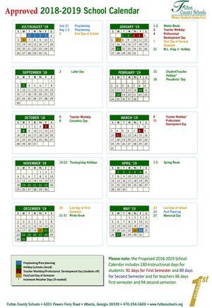 Fulton County Schools Calendar 2022.Fulton County Schools Calendar 2018 19