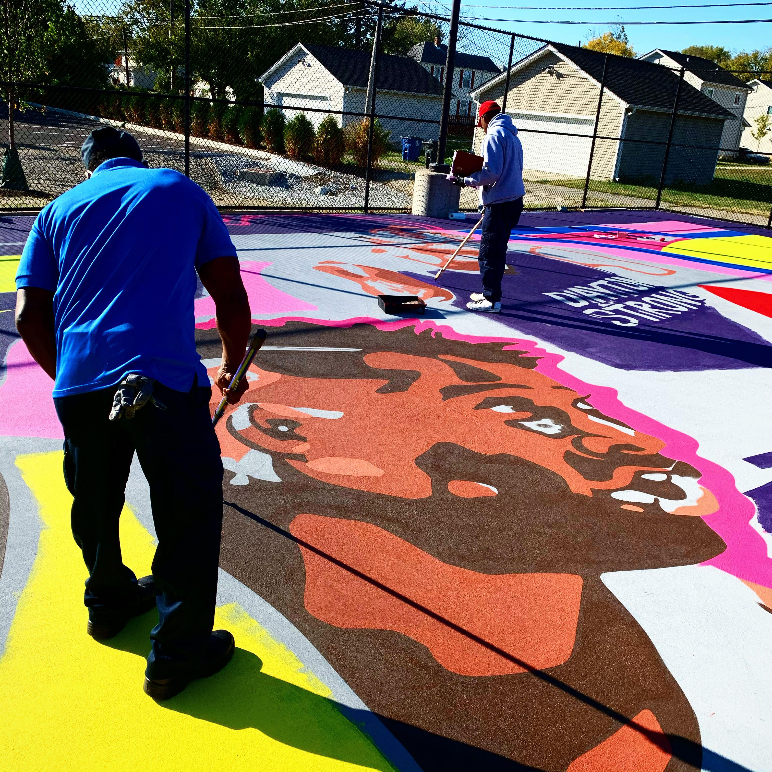 New Colorful Basketball Court Opens In Dayton