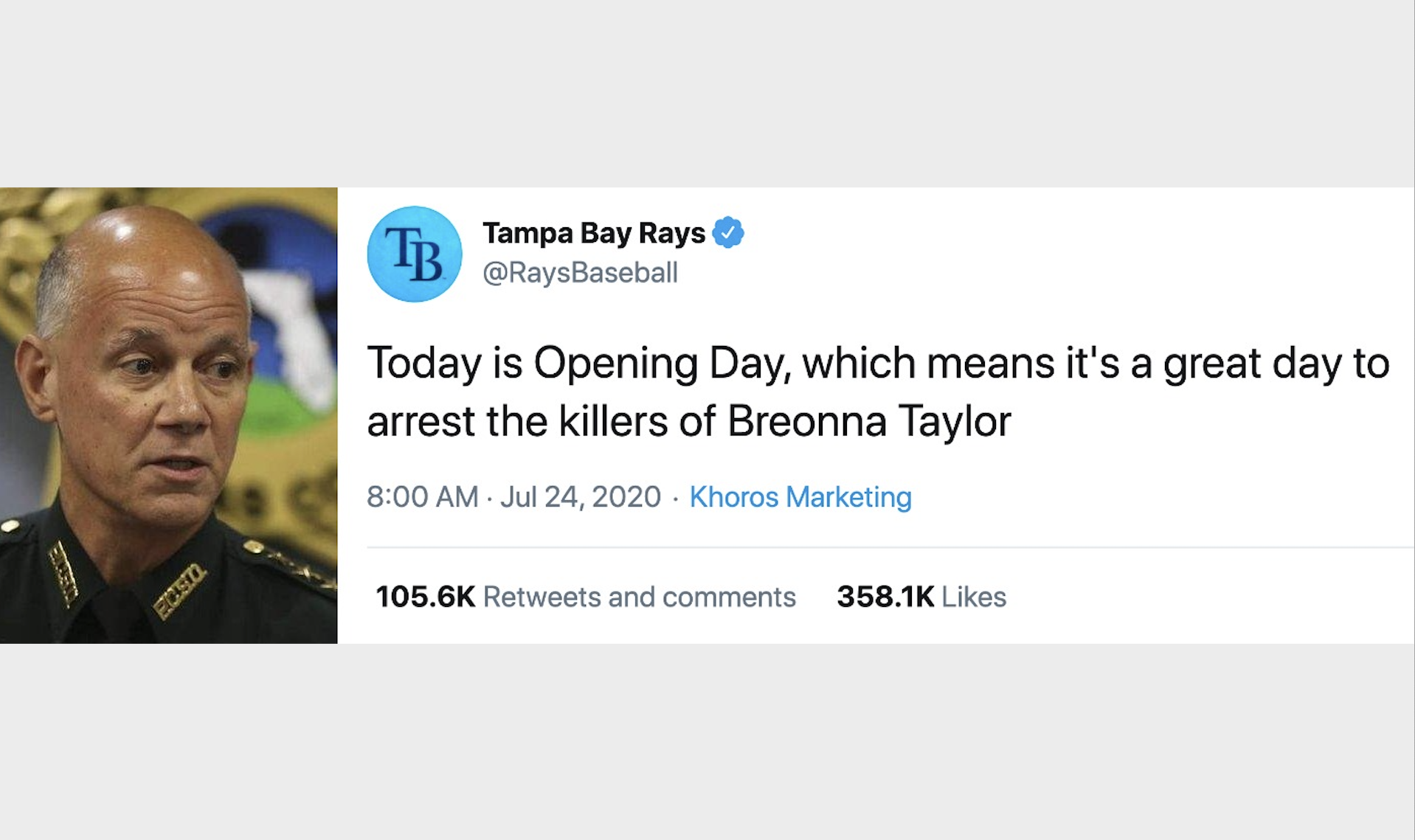 Pinellas Sheriff To Rays Breonna Taylor Tweet Was Just Wrong And Reckless
