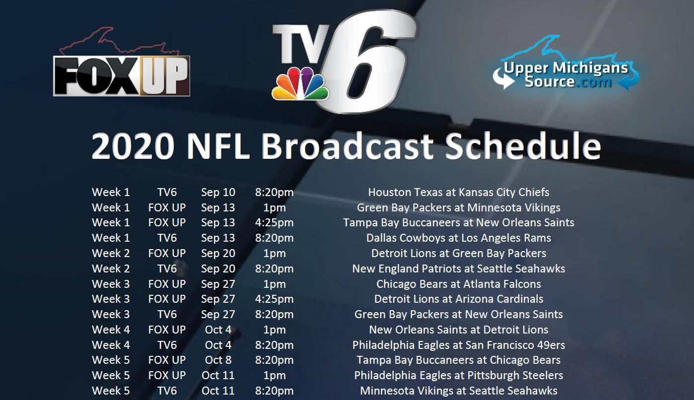 Tv6 Fox Up 2020 Nfl Broadcast Schedule