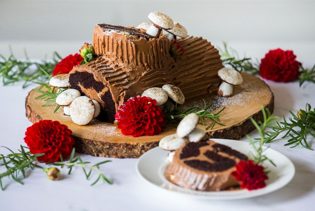 Christmas Yule Log Cake.How To Make A Chocolate Espresso Buche De Noel Yule Log