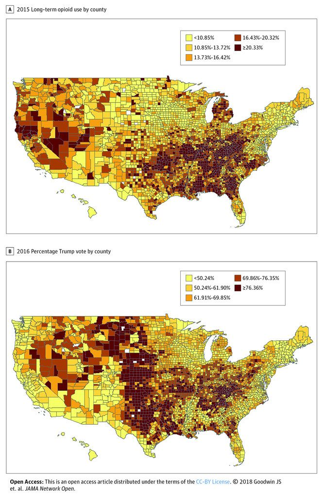 Higher opioid use correlated with 2016 Trump support across ...