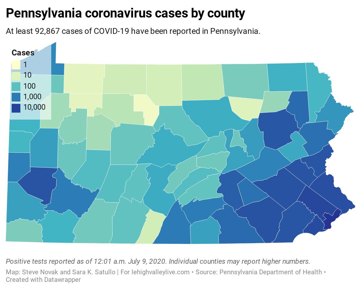 Picture of: Pa Coronavirus Update Total Cases Near 93k With 719 New Cases Jump Driven By Pittsburgh Area And Philly Coronavirus Pa Map 07 09 20 Lehighvalleylive Com