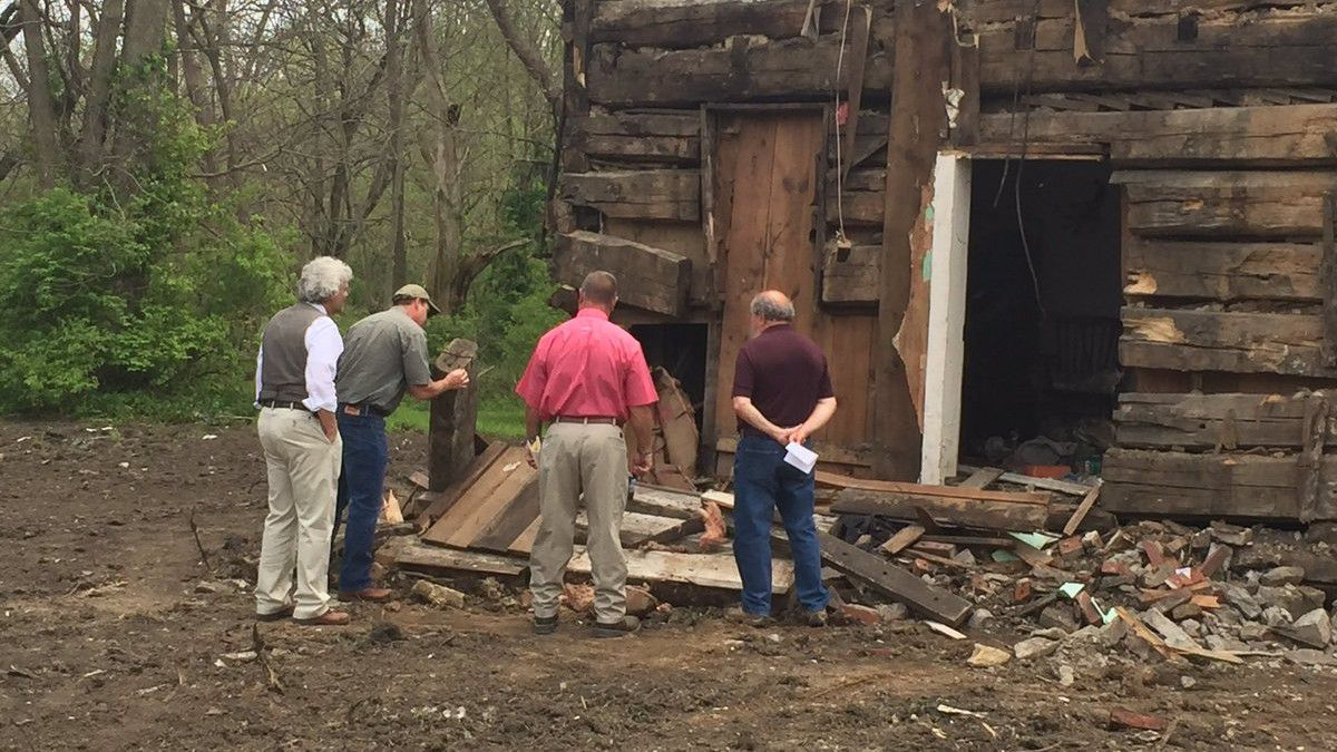 A Home Within A Home Demolished House Unveils 160 Year Old Log Cabin