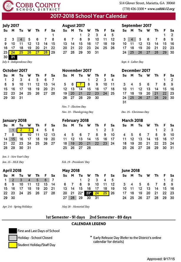 Cobb County Schools Christmas Break 2021 Cobb County Schools 2017 18 Calendar