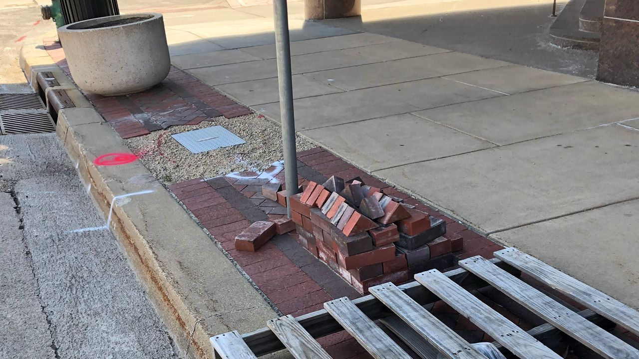 Bricks Placed In Downtown Cedar Rapids For Streetlight Replacement City Says