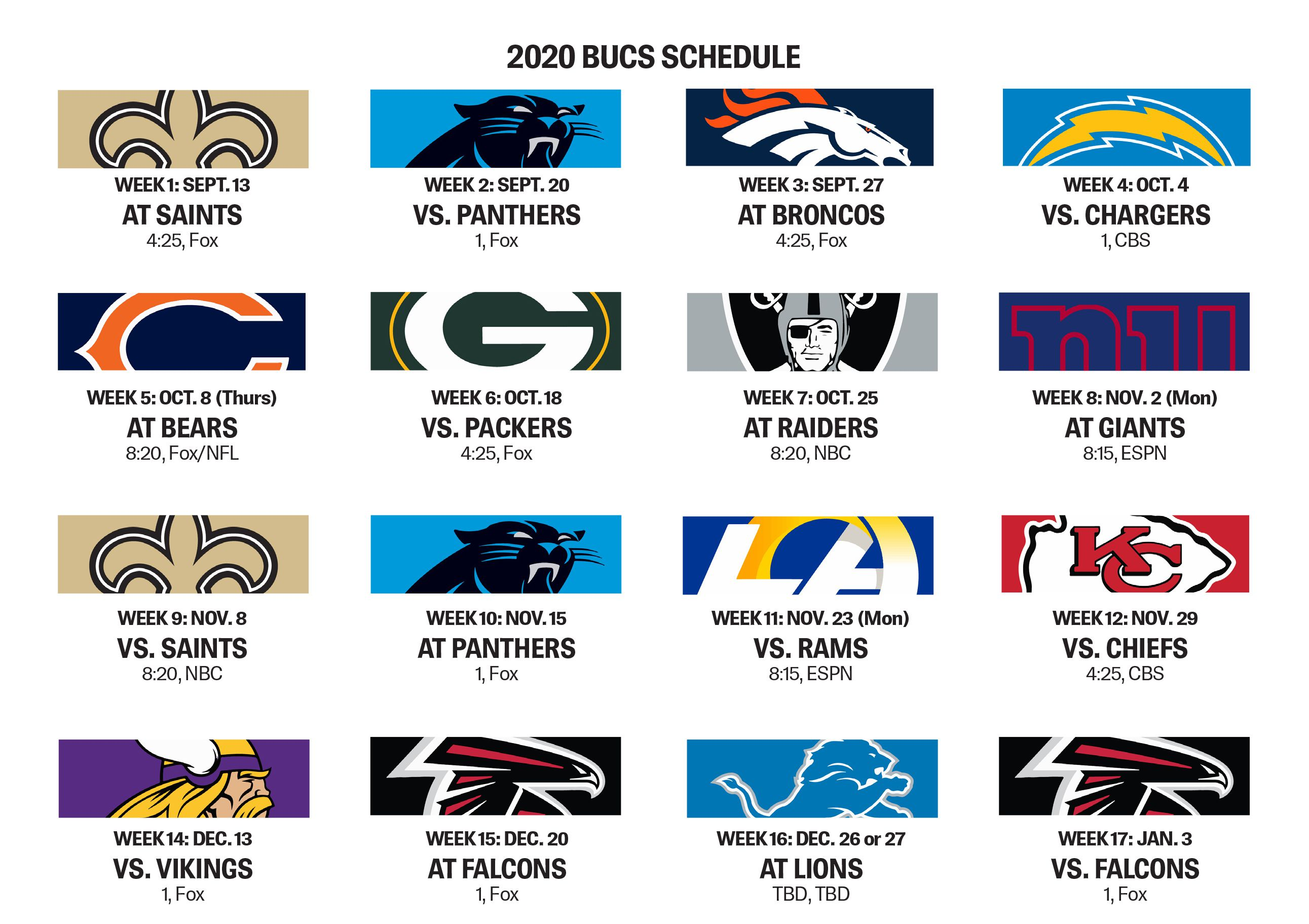 Bucs Open With Saints Have Five Prime Time Games Slated