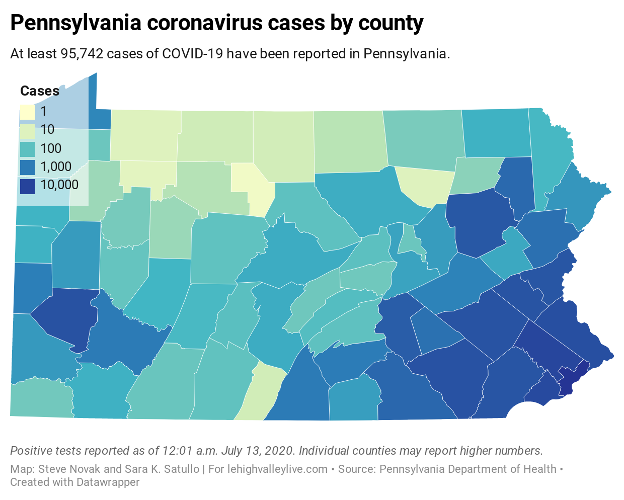 Picture of: Pa Coronavirus Update Majority Of Counties Seeing Cases Rise 45 Of Cases People Under 49 Pa County Covid 19 Map Lehighvalleylive Com